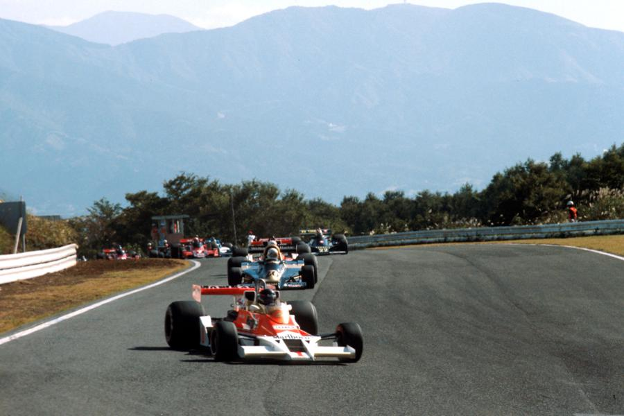 James Hunt leads Jody Scheckter early in the race