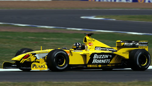Damon Hill drives for Jordan in front of his home crowd