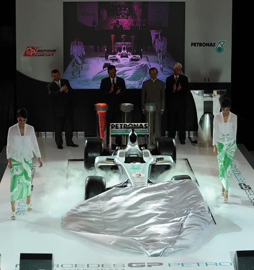 The Petronas sponsored Mercedes F1 car was unveiled to mark the launch of the 2010 Malaysian Grand Prix