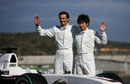 Pedro De La Rosa and Kamui Kobayashi pose for the cameras