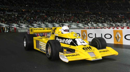 Rene Arnoux demonstrates the 1977 Renault RS01 turbocharged F1 car