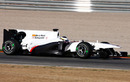 The unbranded Sauber hits the track