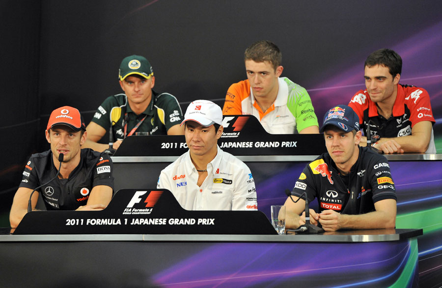 The drivers face the media in the press conference