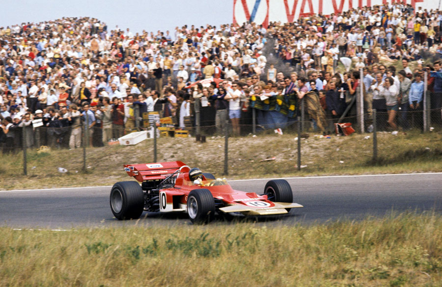 Jochen Rindt passes the banks of supporters at Zandvoort