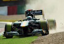 Heikki Kovalainen dips two wheels in the gravel