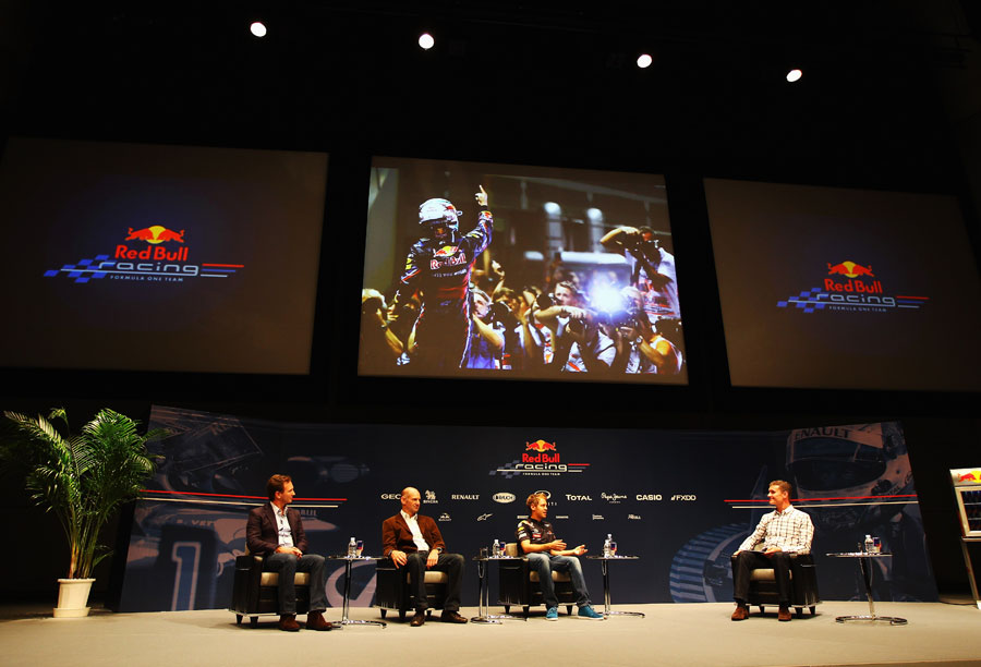 David Coulthard questions Sebastian Vettel, Adrian Newey and Christian Horner at Nissan HQ