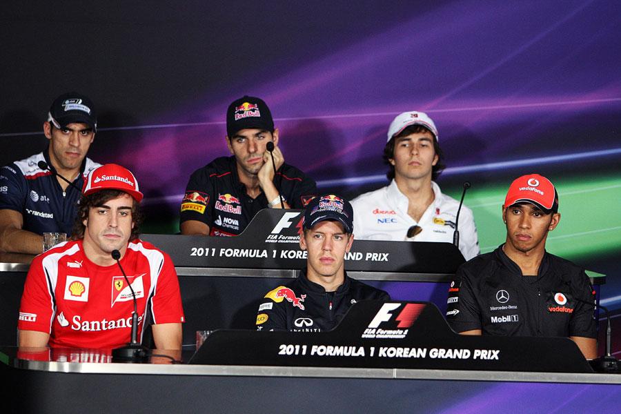 Fernando Alonso, Sebastian Vettel, Lewis Hamilton, Pastor Maldonado, Jaime Alguersuari and Sergio Perez look bored in the driver press conference
