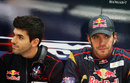 Jean-Eric Vergne and Jaime Alguersuari in the Toro Rosso garage