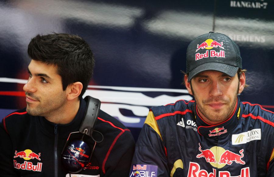 Jean-Eric Vergne and Jaime Alguersuari in the Toro Rosso garage