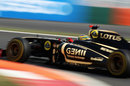 Bruno Senna launches his Renault across the kerbs