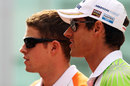 Force India team-mates Paul di Resta and Adrian Sutil