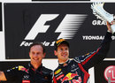 Sebastian Vettel and Christian Horner celebrate on the podium