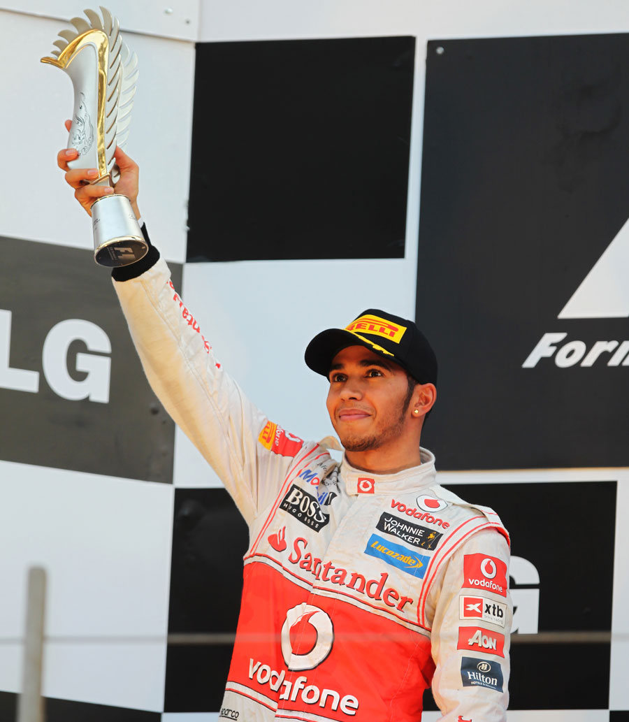 Lewis Hamilton celebrates his return to the podium with second place