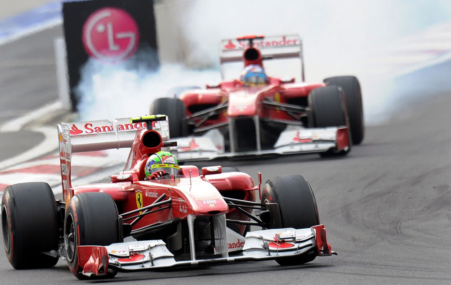 Fernando Alonso was stuck behind Felipe Massa for the opening stint of the race