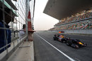 Neel Jani passes the pit wall in the Red Bull showcar at the official unveiling of the new Buddh International Circuit