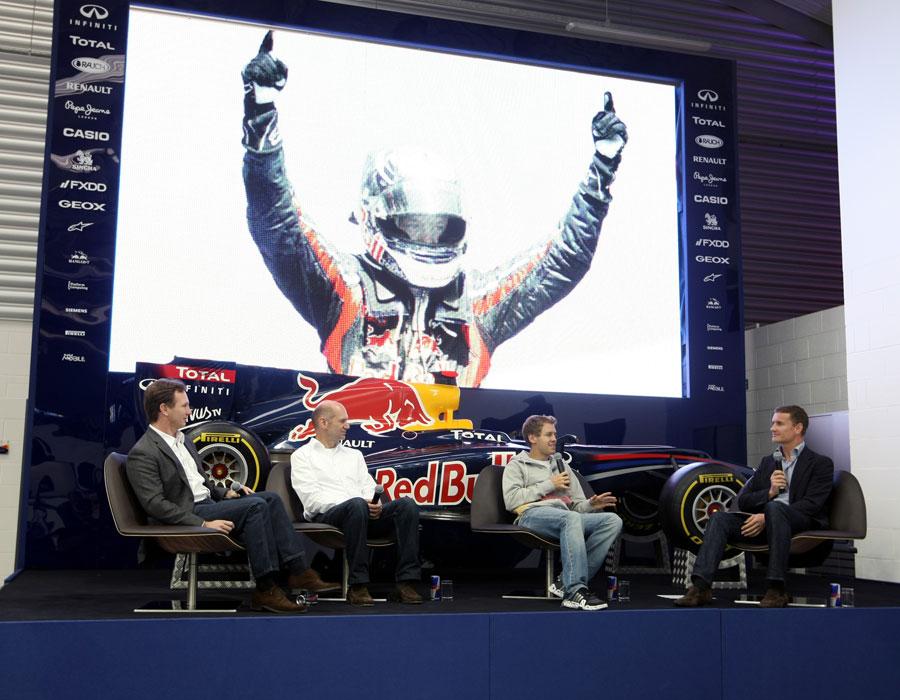 David Coulthard interviews Sebastian Vettel, Adrian Newey and Christian Horner at the Red Bull factory