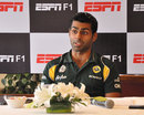 Karun Chandhok talks to the media at an ESPNF1 press conference
