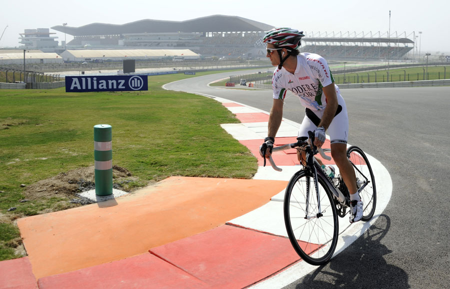 Jarno Trulli laps the Buddh circuit on his bike