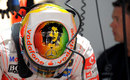 Lewis Hamilton sports a Bob Marley design on his helmet