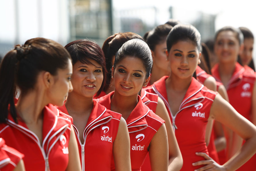 Grid girls at Buddh on Saturday