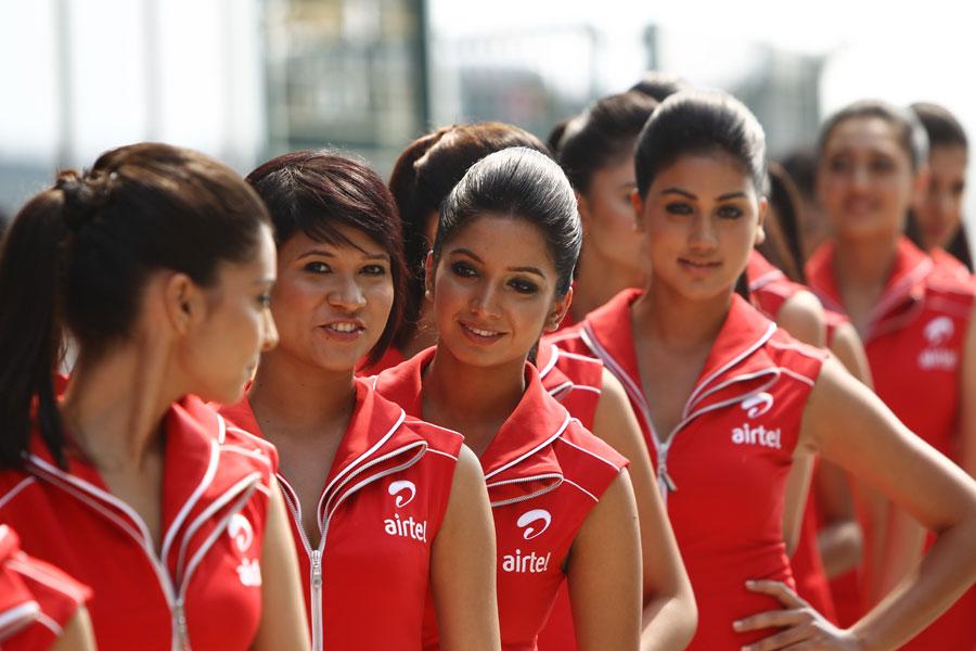 Grid girls at Buddh on Saturday
