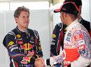 Lewis Hamilton congratulates Sebastian Vettel