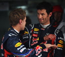 Mark Webber and Sebastian Vettel after qualifying