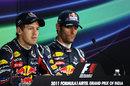 Sebastian Vettel and Mark Webber face the press