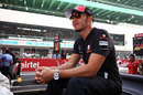 Lewis Hamilton waits to begin the drivers parade