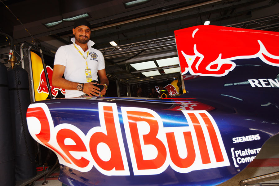 Indian spin bowler Harbhajan Singh in the Red Bull pits