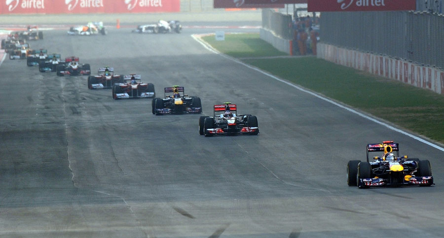 Sebastian Vettel leads the field
