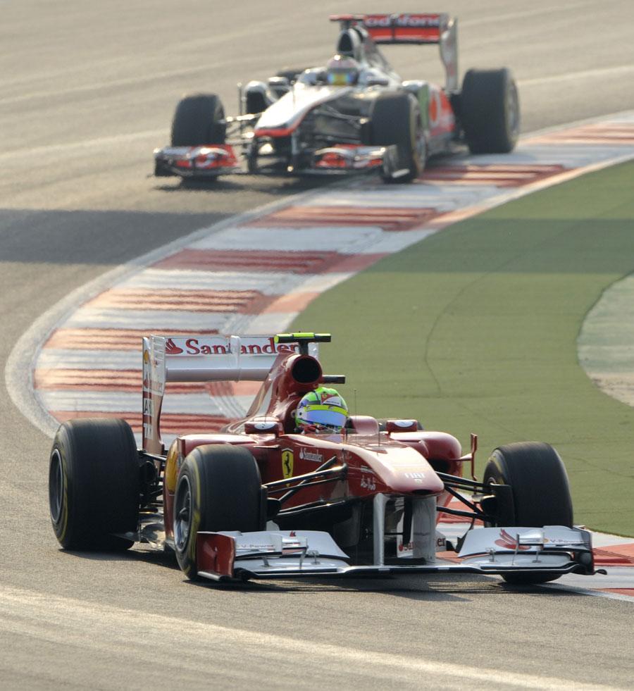 Felipe Massa leads Lewis Hamilton