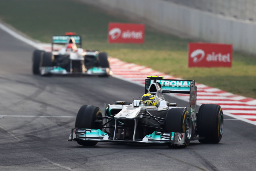 Nico Rosberg leads Michael Schumacher in the early stages