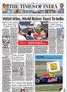The front page of the <I>Times of India</I>