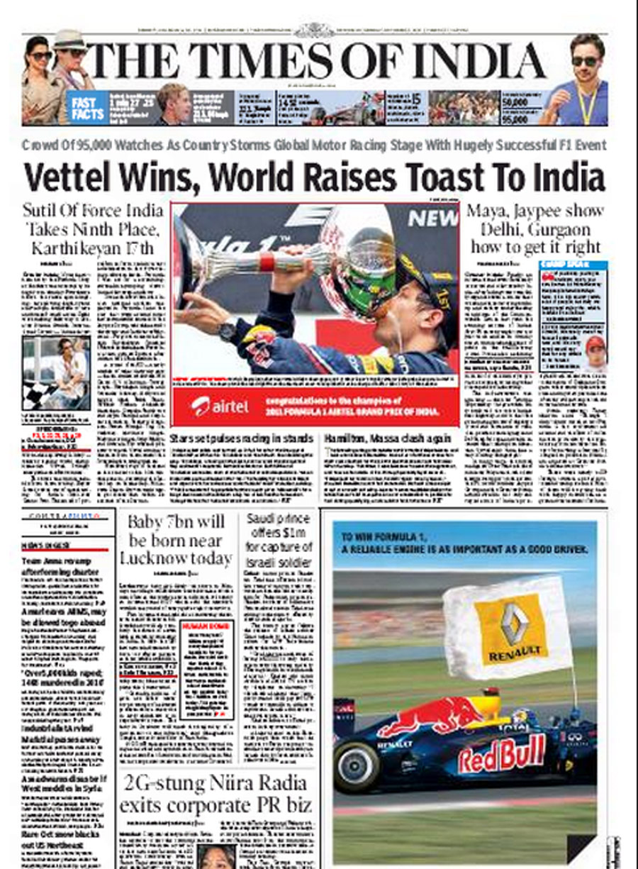 The front page of the <I>Times of India</I> | Indian Grand Prix.