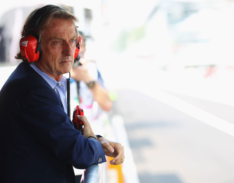Luca di Montezemolo watches the action from the pit wall during qualifying