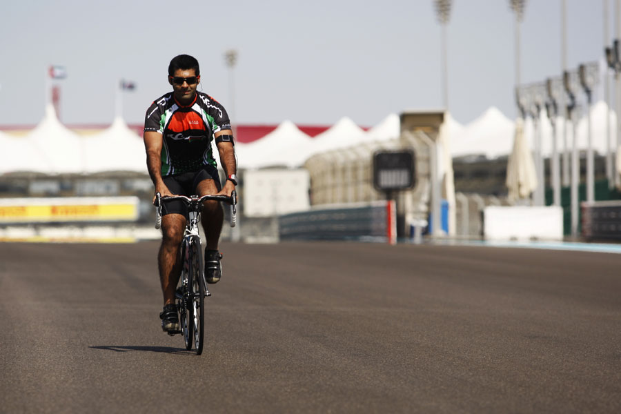 Karun Chandhok cycles the track on Thursday