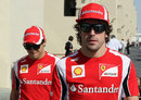 Fernando Alonso and Felipe Massa in the paddock on Thursday