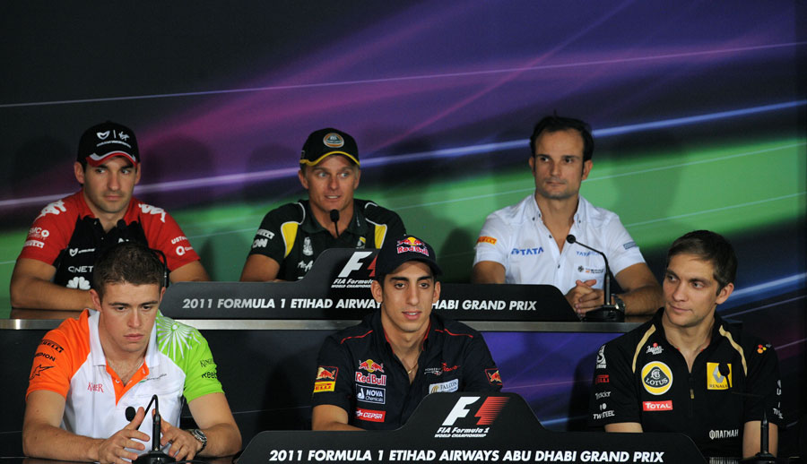 Timo Glock, Heikki Kovalainen, Tonio Liuzzi, Paul di Resta, Sebastien Buemi and Vitaly Petrov face the media in the driver press conference