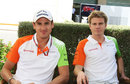 Adrian Sutil and Nico Hulkenberg in the paddock