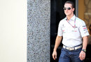 Michael Schumacher in the paddock on Thursday