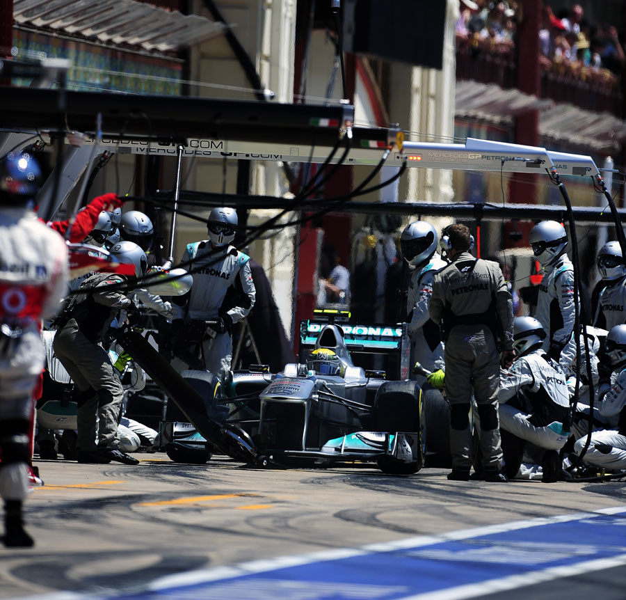 Nico Rosberg makes a pit stop