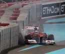 Fernando Alonso crashes out of second practice after spinning off at turn one