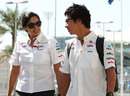 Kamui Kobayashi chats to Monisha Kaltenborn as he arrives at the circuit on Saturday
