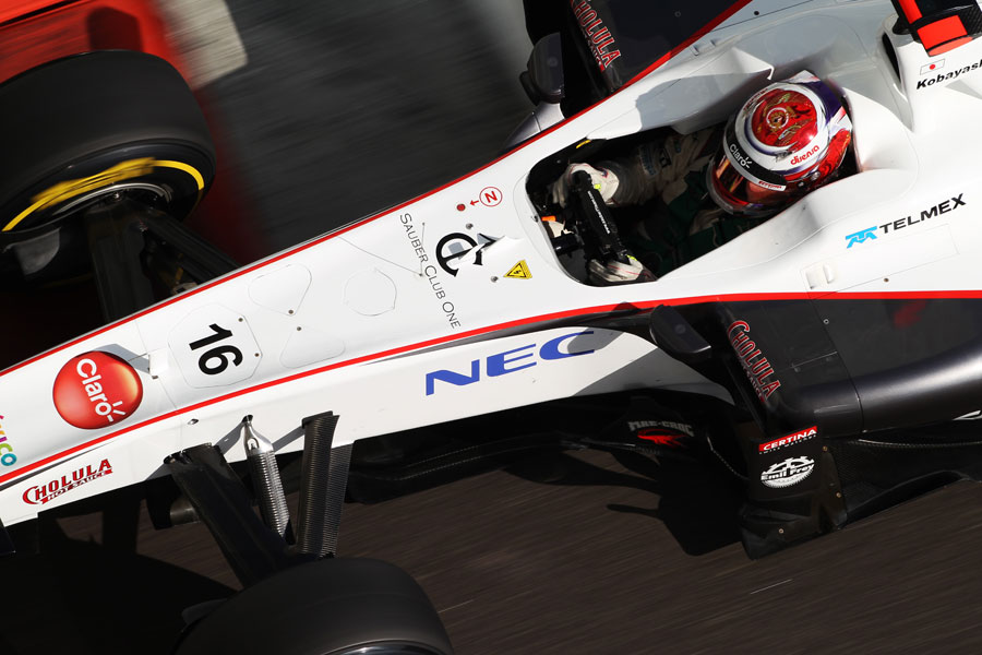 Kamui Kobayashi at the wheel of the Sauber