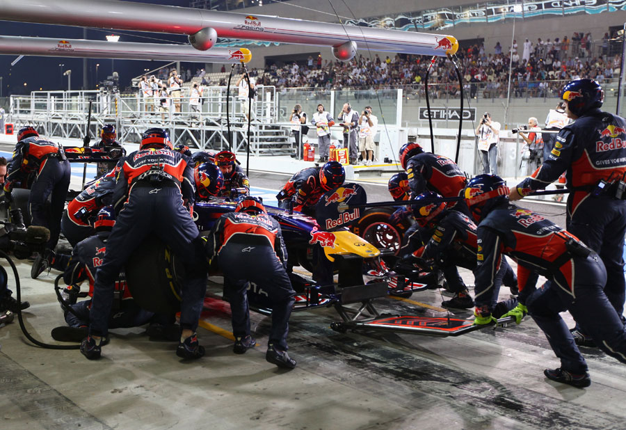 Mark Webber makes a pit stop