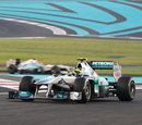 Nico Rosberg leads Michael Schumacher early in the race