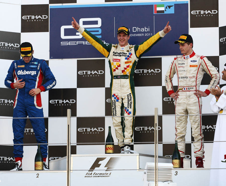 James Calado celebrates on the podium alongside Marcus Ericsson and Tom Dillmann