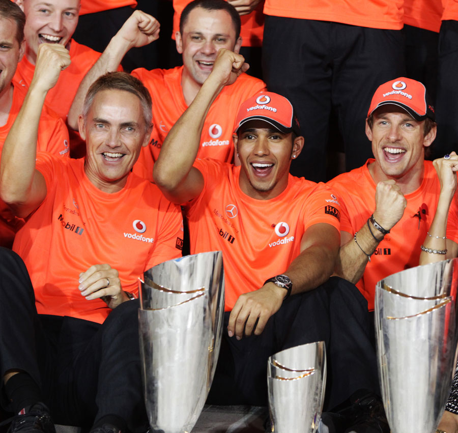 Martin Whitmarsh, Lewis Hamilton and Jenson Button celebrate McLaren's 1-3 result