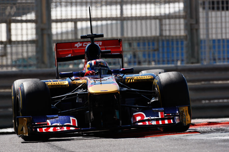 Stefano Coletti attacks the kerbs in the Toro Rosso